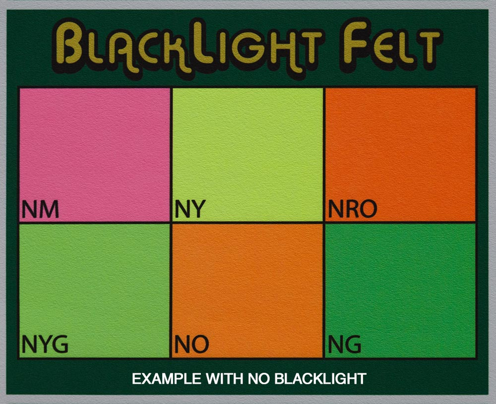 BlackLight Pool Table Felt Colors